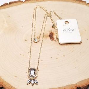 Eclat Gorgeous Gold Double Strand Gem Necklace